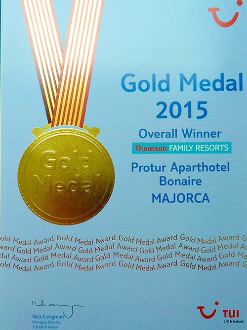 Protur Hotels TUI UK Gold Awards 2015