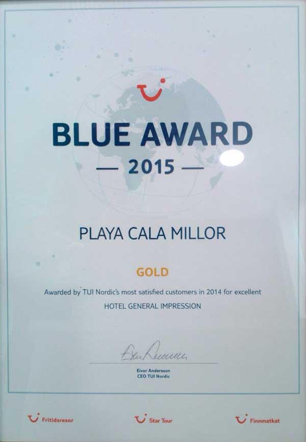 Protur Playa Cala Millor Hotel Blue Award 2015